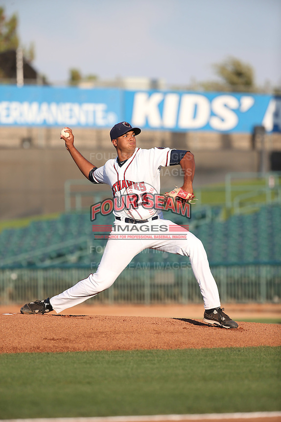 Joshua James (23) of the Lancaster JetHawks pitches against the Lake Elsinore Storm at The Hanger on August 2, 2016 in Lancaster, California. Lake Elsinore defeated Lancaster, 10-9. (Larry Goren/Four Seam Images)
