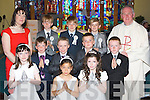 Pupils from Coolick NS who received their  First Holy Communion in Our Lady of Lourdes church, Kilcummin on Saturday front row l-r: Shauna O'mahony, Eleana O'Doherty, Claudia Counihan. Middle row: Brandon Griffin, Dylan Morgan-Shortt, Michael O'Donoghue, Patrick Daly. Back row: Tara O'Donoghue Teacher, Adam o'Sullivan, Colm Kelleher and Cian Murphy..