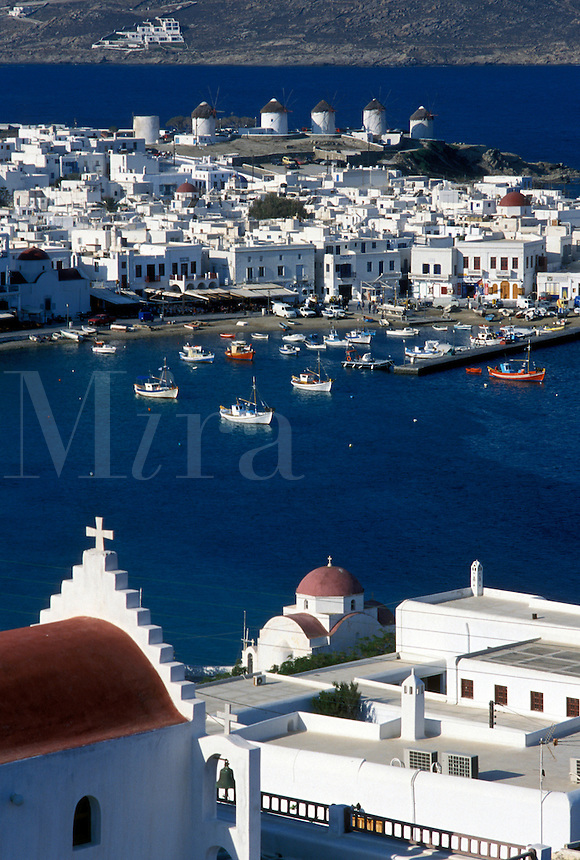Mykonos, Greece, Greek Islands, Cyclades, Europe, Scenic view of Mykonos Harbor on the Aegean Sea.