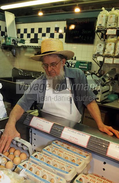 """Amérique/Amérique du Nord/USA/Etats-Unis/Vallée du Delaware/Pennsylvanie/Philadelphie : Amish au marché """"The Reading Terminal Market"""""""