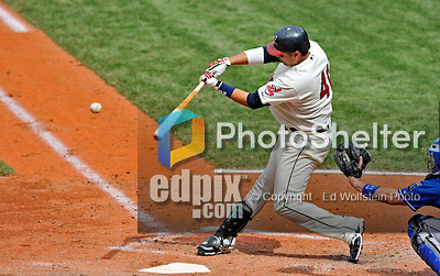 14 September 2008: Cleveland Indians' catcher Victor Martinez connects against the Kansas City Royals at Progressive Field in Cleveland, Ohio. The Royal defeated the Indians 13-3 to take the 4-game series three games to one...Mandatory Photo Credit: Ed Wolfstein Photo