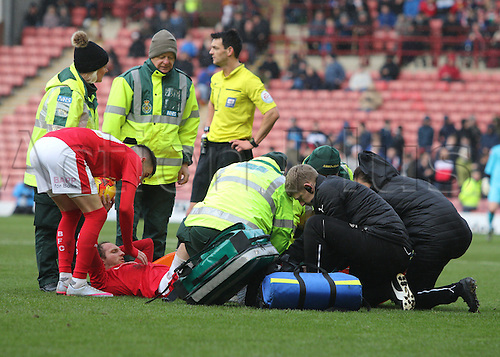 20.02.2016. Oakwell Stadium, Barnsley, England. Skybet League One. Barnsleys Aidan White is treated by medics