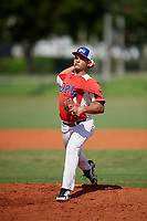 Joset Rodriguez (14) during the Dominican Prospect League Elite Florida Event at Pompano Beach Baseball Park on October 15, 2019 in Pompano beach, Florida.  (Mike Janes/Four Seam Images)