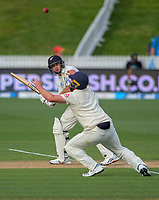 NZ's Ross Taylor plays over England's Dom Sibley during day four of the international cricket 2nd test match between NZ Black Caps and England at Seddon Park in Hamilton, New Zealand on Friday, 22 November 2019. Photo: Dave Lintott / lintottphoto.co.nz