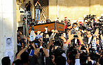 Egyptians mourners carrying the coffin of the Egyptian journalist mohammed Hassanein Heikal during his funeral at the al-Hussein mosque in Cairo on February 17, 2016. Heikal, one of the Arab world's most prominent political commentators and a former adviser to president Gamal Abdel Nasser, died on February 17 aged 92. Photo by Amr Sayed