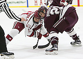 Kyle Criscuolo (Harvard - 11), Mike Borkowski (Colgate - 21) - The Harvard University Crimson defeated the visiting Colgate University Raiders 7-4 (EN) on Saturday, February 20, 2016, at Bright-Landry Hockey Center in Boston, Massachusetts,