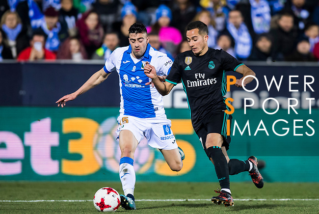 Lucas Vazquez (R) of Real Madrid fights for the ball with Diego Rico Salguero of CD Leganes during the Copa del Rey 2017-18 match between CD Leganes and Real Madrid at Estadio Municipal Butarque on 18 January 2018 in Leganes, Spain. Photo by Diego Gonzalez / Power Sport Images