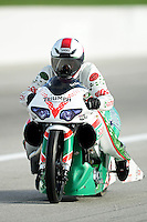 Aug. 31, 2012; Claremont, IN, USA: NHRA pro stock motorcycle rider Kieth Burley during qualifying for the US Nationals at Lucas Oil Raceway. Mandatory Credit: Mark J. Rebilas-