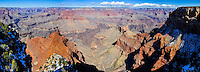 United States, Arizona, Grand Canyon. Mohave Point has a great view of the near vertical cliffs around The Abyss and continuing towards Pima Point. Panorama view.