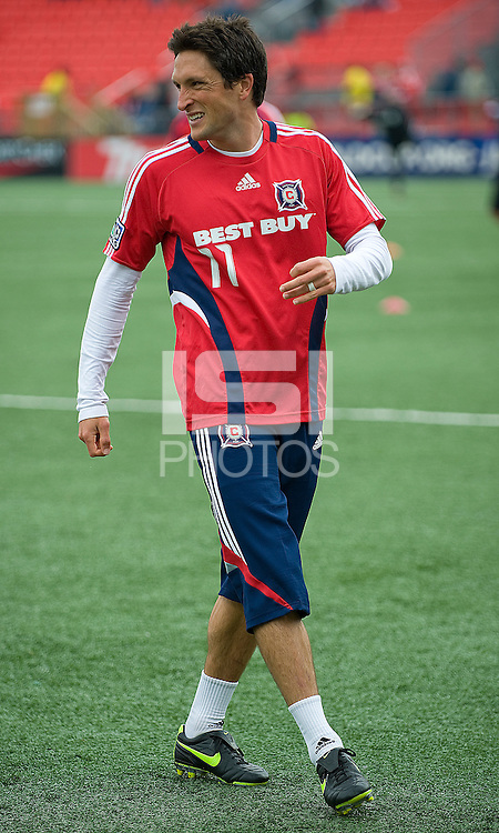 16 May 09: Chicago Fire midfielder John Thorrington #11 warms up during action at BMO Field in a game between the Chicago Fire and Toronto FC..Chicago Fire won 2-0..
