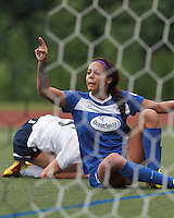 Boston Breakers forward Sydney Leroux (2) acknowledges good cross. However, Sydney Leroux was ruled offside and the goal disallowed. In a National Women's Soccer League (NWSL) match, Seattle Reign FC (white) defeated Boston Breakers (blue), 2-1, at Dilboy Stadium on June 26, 2013.