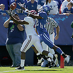Cornerback Trevard Lindley attempts to intercept an incomplete pass. The Cats lost to Alabama 38-20 at Commonwealth Stadium on Oct. 3, 2009. Photo by Adam Wolffbrandt \ Staff