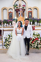 Portrait of the couple. Graciela Garcia Estaban (Grace) and Rafael Marquez Perez´s wedding in the Mazahua community of San Miguel la Labor, Estado de Mexico