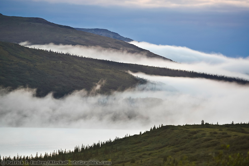 Low lying clouds over the hills surrounding Wonder Lake, Denali National Park, Interior, Alaska.