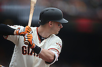 SAN FRANCISCO, CA - MAY 25:  Trevor Brown #14 of the San Francisco Giants bats against the San Diego Padres during the game at AT&T Park on Wednesday, May 25, 2016 in San Francisco, California. Photo by Brad Mangin