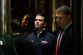 Donald Trump Jr. gets on an elevator in the lobby of Trump Tower in New York, New York, USA, 02 December 2016.<br /> Credit: Justin Lane / Pool via CNP