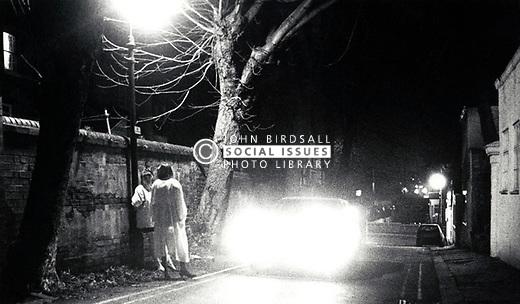 Prostitutes at night, Nottingham, UK 1980s