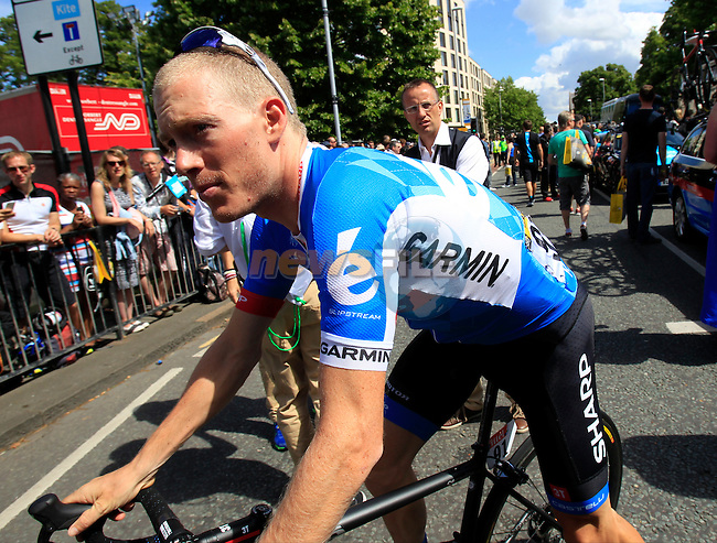 Andrew Talansky (USA) Garmin-Sharp heads to sign on in Cambridge before the start of Stage 3 of the 2014 Tour de France running 155km from Cambridge to London. 7th July 2014.<br /> Picture: Eoin Clarke www.newsfile.ie