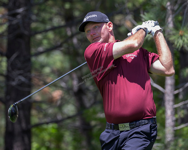 Tommy Gainey hits a drive on the 15th tee during the Barracuda Championship PGA golf tournament at Montrêux Golf and Country Club in Reno, Nevada on Sunday, July 28, 2019.