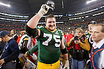 Green Bay Packers offensive lineman Bryan Bulaga shows his Super Bowl XLV Champions hat after beating the Pittsburgh Steelers on Sunday, February 6, 2011, in Arlington, Texas. The Packers won 31-25. (AP Photo/David Stluka)