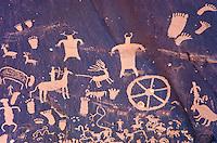 Ancient Indian rock paintings at Newspaper Rock, Indian Creek in Utah, USA