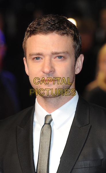 Justin Timberlake.'In Time' UK premiere at the Curzon, Mayfair, London, England..31st October 2011.headshot portrait white shirt stubble facial hair black suit shirt grey gray.CAP/WIZ.© Wizard/Capital Pictures.