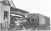 RGS Goose #4 in black paint at Ridgway depot with engineer Walford.<br /> RGS  Ridgway, CO  Taken by Rogers, Donald E. A. - 7/4/1933