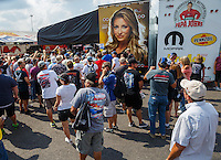 Sep 24, 2016; Madison, IL, USA; Fans surround the pit area of NHRA top fuel driver Leah Pritchett during qualifying for the Midwest Nationals at Gateway Motorsports Park. Mandatory Credit: Mark J. Rebilas-USA TODAY Sports