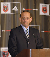 MLS Commissioner Don Garber at the presentation of DC United Holdings as the new group that owns and controls the operating rights for DC United of Major League Soccer, January 8, 2007.