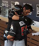 (F-B) Ichiro Suzuki, Christian Yelich (Marlins), JUNE 15, 2016 - MLB : Ichiro Suzuki (front) of Miami Marlins celebrates with Christian Yelich in the ninth inning during the Major League Baseball game between the San Diego Padres and the Miami Marlins  at PetCo Park in San Diego, California, United States. He raised his career total in the Japanese and North American major leagues to 4,257, passing Pete Rose's record Major League Baseball total. (Photo by AFLO)