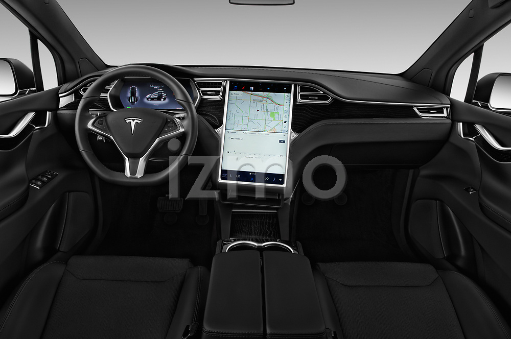 Stock photo of straight dashboard view of 2017 Tesla Model-X 75D 5 Door SUV Dashboard