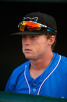Hudson Valley Renegades Jake Cronenworth (5) in the dugout before a game against the Vermont Lake Monsters on September 3, 2015 at Centennial Field in Burlington, Vermont.  Vermont defeated Hudson Valley 4-1.  (Mike Janes/Four Seam Images)