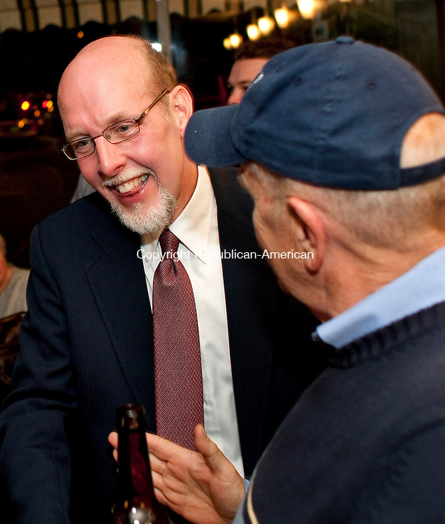 SOUTHINGTON, CT-02 November 2010-110210BF05-- Joe Markley, Republican candidate for the 16th Senate District, talks with supporters at the Pepper Pot Restaurant in downtown Southington after he gave his acceptance speech to supporters after he defeated Democratic challenger John Barry. The 16th District serves Southington, Cheshire, Wolcott and Waterbury.<br /> Bob Falcetti Republican-American