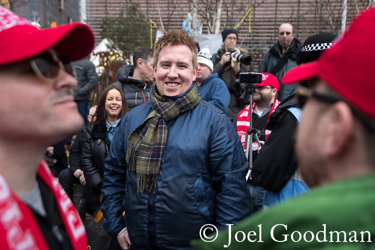 © Joel Goodman - 07973 332324. 24/03/2018. Birmingham, UK. JOHN MEIGHAN leader of the FLA at a Football Lads Alliance demonstration against Islam and extremism in Birmingham City Centre . Offshoot group, The True Democratic Football Lads Alliance, also hold a separate demonstration . Photo credit : Joel Goodman