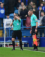 Referee Darren Bond, left, awards Sheffield Wednesday a goal, scored by George Boyd after speaking to his assistant<br /> <br /> Photographer Chris Vaughan/CameraSport<br /> <br /> The EFL Sky Bet Championship - Sheffield Wednesday v Bolton Wanderers - Saturday 10th March 2018 - Hillsborough - Sheffield<br /> <br /> World Copyright &copy; 2018 CameraSport. All rights reserved. 43 Linden Ave. Countesthorpe. Leicester. England. LE8 5PG - Tel: +44 (0) 116 277 4147 - admin@camerasport.com - www.camerasport.com