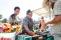 Local farmer Sam McLemore of Bountiful Harvest Farms sells fresh produce to MSU staff members Trudy Jones and Tamara Lowe as part of the Taste of the Healthier South program on Thursday [Aug. 25]. The program, part of MSU's annual Dawg Daze series of events, is designed to introduce new MSU students to healthier Southern food choices. <br />