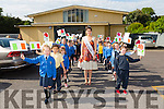 Flag waving welcome for Rose of Tralee  Maria Walsh when she came to visit  Presentation Primary School Tralee to launch their new website on Thursday