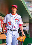 15 May 2016: Washington Nationals pitcher Joe Ross walks the dugout prior to a game against the Miami Marlins at Nationals Park in Washington, DC. The Marlins defeated the Nationals 5-1 in the final game of their 4-game series.  Mandatory Credit: Ed Wolfstein Photo *** RAW (NEF) Image File Available ***