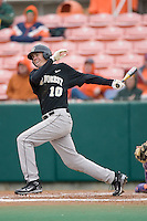 Shane Kroker #10 of the Wake Forest Demon Deacons follows through on his swing versus the Clemson Tigers at Doug Kingsmore stadium March 13, 2009 in Clemson, SC. (Photo by Brian Westerholt / Four Seam Images)