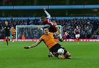 Danny Batth of Wolverhampton Wanderers takes on Lewis Grabban of Aston Villa for the ball.<br /> <br /> Photographer Leila Coker/CameraSport<br /> <br /> The EFL Sky Bet Championship - Aston Villa v Wolverhampton Wanderers - Saturday 10th March 2018 - Villa Park - Birmingham<br /> <br /> World Copyright &copy; 2018 CameraSport. All rights reserved. 43 Linden Ave. Countesthorpe. Leicester. England. LE8 5PG - Tel: +44 (0) 116 277 4147 - admin@camerasport.com - www.camerasport.com