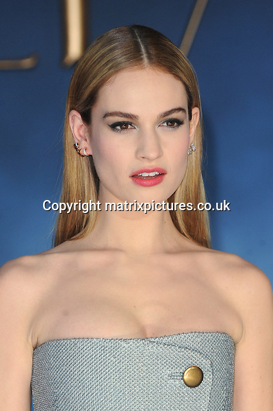 NON EXCLUSIVE PICTURE: PAUL TREADWAY / MATRIXPICTURES.CO.UK<br /> PLEASE CREDIT ALL USES<br /> <br /> WORLD RIGHTS<br /> <br /> English actress Lily James attending the UK Premiere of Cinderella at Odeon Leicester Square, in London.<br /> <br /> MARCH 19th 2015<br /> <br /> REF: PTY 15861