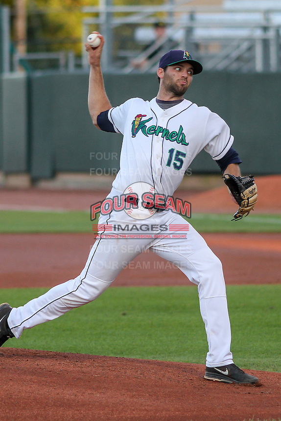 Cedar Rapids Kernels pitcher Randy LeBlanc (15) delivers a pitch during game five of the Midwest League Championship Series against the West Michigan Whitecaps on September 21st, 2015 at Perfect Game Field at Veterans Memorial Stadium in Cedar Rapids, Iowa.  West Michigan defeated Cedar Rapids 3-2 to win the Midwest League Championship. (Brad Krause/Four Seam Images)