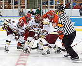 Matt Price (Boston College - Milton, ON), Brian Kaufman (MiamiU - Shoreview, MN), Matt Greene (Boston College - Plymouth, MA), Pat Gannon (Boston College - Arlington, MA), Nathan Davis (MiamiU - Rocky River, OH), Derek Shepard - The Boston College Eagles defeated the Miami University Redhawks 4-0 in the 2007 NCAA Northeast Regional Final on Sunday, March 25, 2007 at the Verizon Wireless Arena in Manchester, New Hampshire.