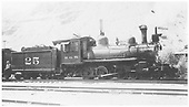 RGS 4-6-0 #25 with new paint job in Durango.<br /> RGS  Durango, CO  Taken by Kindig, Richard H. - 6/30/1938