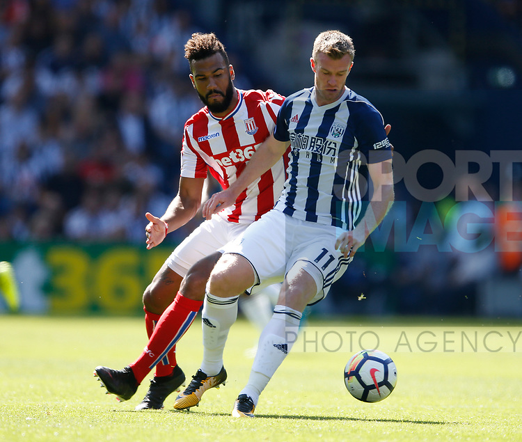 Eric Maxim Choupomoting of Stoke City and Chris Brunt of West Bromwich Albion during the premier league match at the Hawthorn's Stadium, West Bromwich. Picture date 27th August 2017. Picture credit should read: Simon Bellis/Sportimage