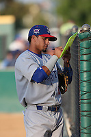 Franklin Barreto (10) of the Stockton Ports signs autographs before a game against the Rancho Cucamonga Quakes at LoanMart Field on June 13, 2015 in Rancho Cucamonga, California. Stockton defeated Rancho Cucamonga, 14-2. (Larry Goren/Four Seam Images)