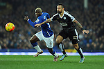 Arouna Kone of Everton is challenged by Marcin Wasilewski of Leicester City<br /> - Barclays Premier League - Everton vs Leicester City - Goodison Park - Liverpool - England - 19th December 2015 - Pic Robin Parker/Sportimage