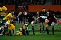 Will Genia passes from a ruck during the Rugby Championship and Bledisloe Cup rugby match between the New Zealand All Blacks and Australia Wallabies at Forsyth Barr Stadium in Dunedin, New Zealand on Saturday, 26 August 2017. Photo: Dave Lintott / lintottphoto.co.nz