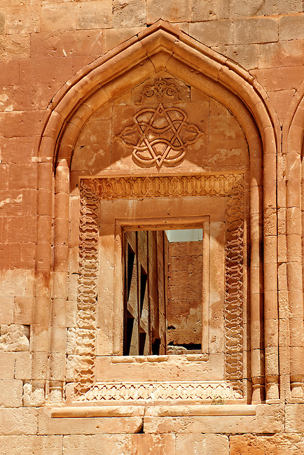 Architectural details of the 18th Century Ottoman architecture of the Ishak Pasha Palace (Turkish: İshak Paşa Sarayı) ,  Ağrı province of eastern Turkey.