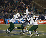 Nevada's Cristian Solano (13) is hit as he throws against Colorado State in the first half of an NCAA college football game in Reno, Nev., Saturday, Oct. 27, 2018. (AP Photo/Tom R. Smedes)
